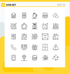 Stock icon pack 25 line signs and symbols vector