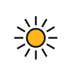 Sun icon on white background vector