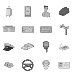 Taxi icons set gray monochrome style vector