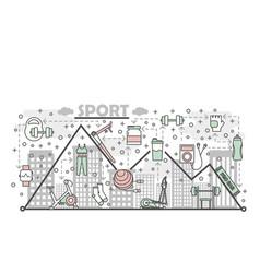 Thin line art sport poster banner template vector