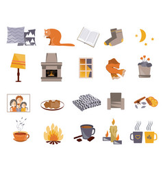 Time to hygge flat icons set vector