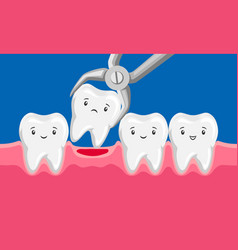 tooth is removed forceps in oral vector image