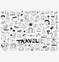 Travel doodle set pencil drawings vector