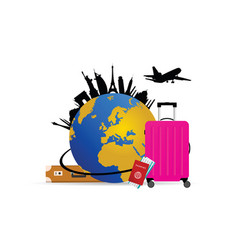 travel with globe and pink bag vector image
