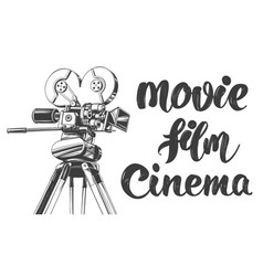 Vintage old movie camera cinema logo vector