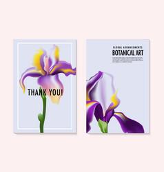 watercolor irises wedding invitatoin cards vector image