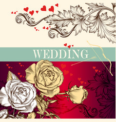 wedding valentines day invitation card with roses vector image