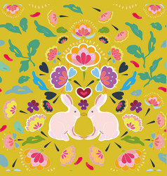 Yellow folk art pattern with bunny vector
