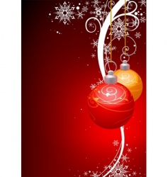 christmas balls and winter floral vector image vector image