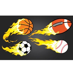 collection of burning sports ball vector image
