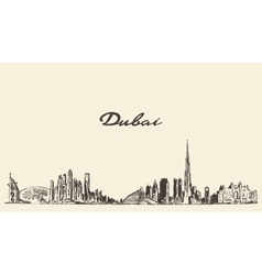 Dubai City skyline Hand drawn vector image