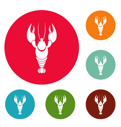 lobster icons circle set vector image