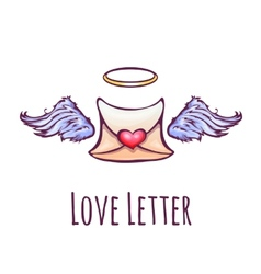 love letter with wings and nimb vector image vector image