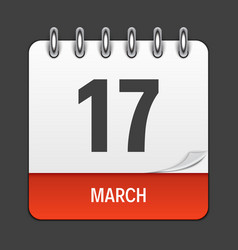 march 17 calendar daily icon vector image