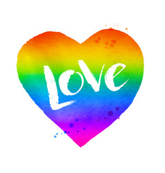 rainbow colored heart with love word lettering vector image