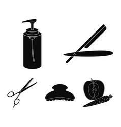 razor lotion brush scissors hairdresser set vector image vector image