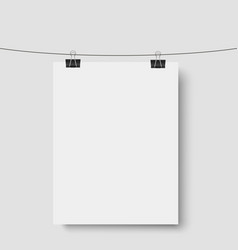 white background with mock up empty paper blank vector image