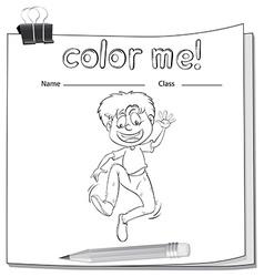 Worksheet showing a boy vector image