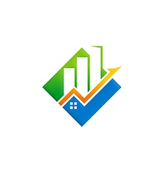 business finance building arrow logo vector image vector image
