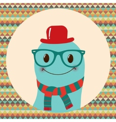 Hipster Retro Monster Card Design vector image