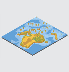 isometric 3d australia and oceania physical map vector image vector image