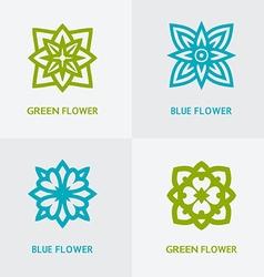natural floral logo set vector image vector image