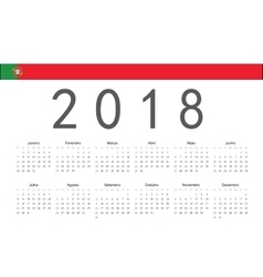 Portuguese 2018 year calendar vector image