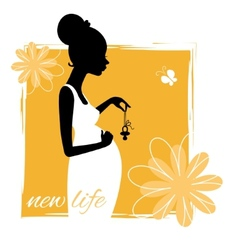 Silhouette of young pregnant woman with pacifier vector image