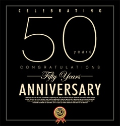 50 years Anniversary black background vector image vector image