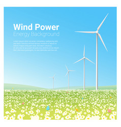 energy concept background with wind turbine 2 vector image