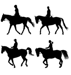 set silhouette of horse and jockey vector image vector image