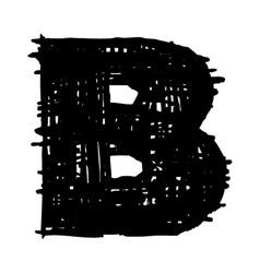 B -hand drawn character sketch font vector image