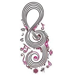 Big clef with music notes vector