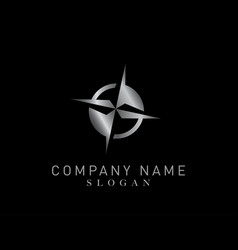 compass silver color logo vector image vector image