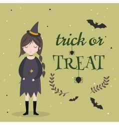 Little cute witch Halloween poster background vector image vector image