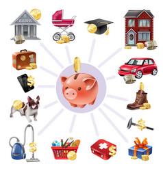 money box saving flat icons composition vector image
