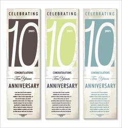 10 years Anniversary retro banner set vector image