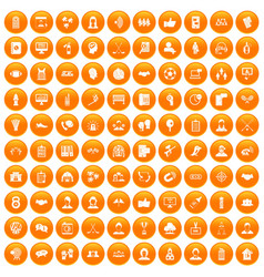 100 team icons set orange vector image