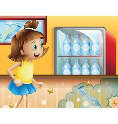 A happy young girl inside the store selling sodas vector