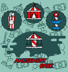 Amusement park flat concept icons vector