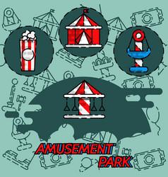 amusement park flat concept icons vector image