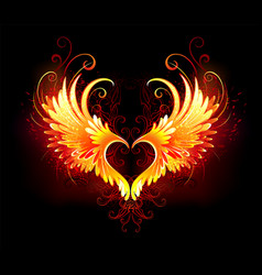 angel fire heart with wings vector image