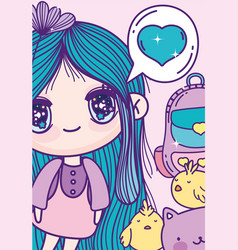 anime cute girl love chickens backpack vector image
