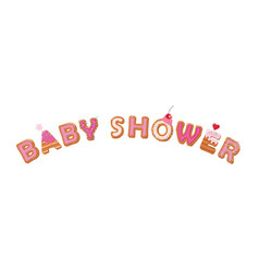 Bashower cartoon inscription sweet cake hand vector