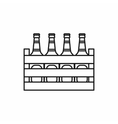 Beer wooden box icon outline style vector