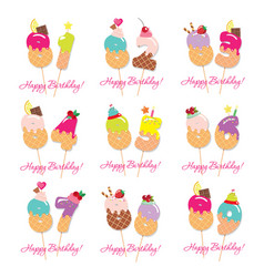 birthday card set festive sweet numbers from 81 vector image