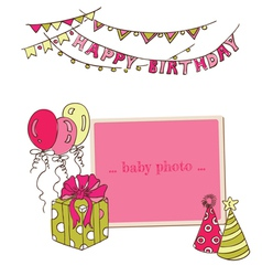 Birthday Greeting Card with Photo Frame vector