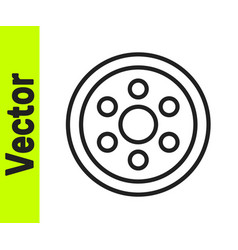 black line alloy wheel for a car icon isolated on vector image