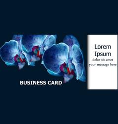 blue orchids watercolor card invitation vector image