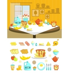 Breakfast Flat Composition Set vector image